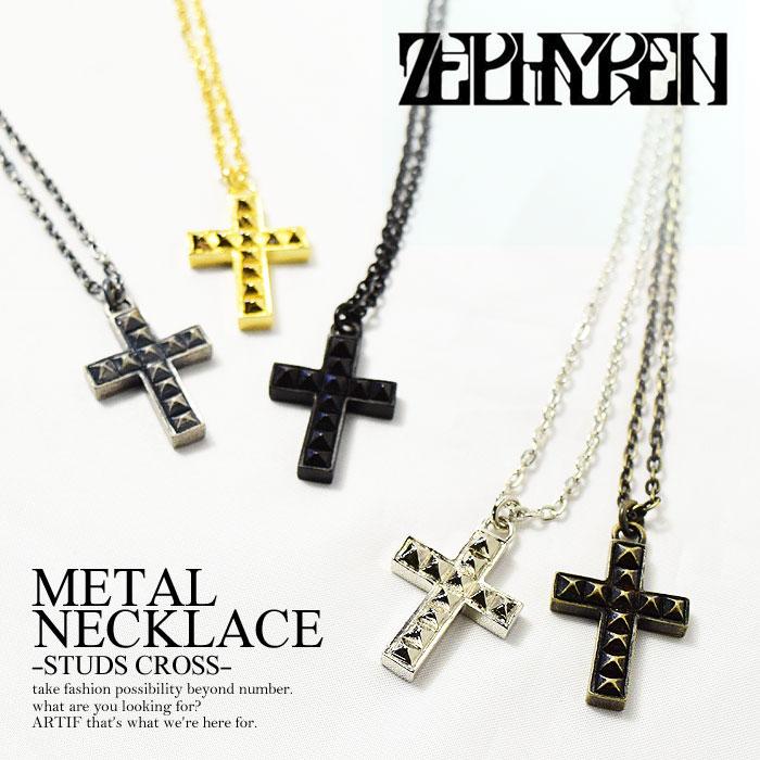 ゼファレン ZEPHYREN METAL NECKLACE -STUDS CROSS-【メンズ レディース ネックレ...