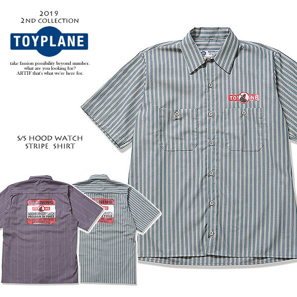 トップス, カジュアルシャツ 50OFF SALE TOYPLANE SS HOOD WATCH STRIPE SHIRT tp19-nsh03 toyplane