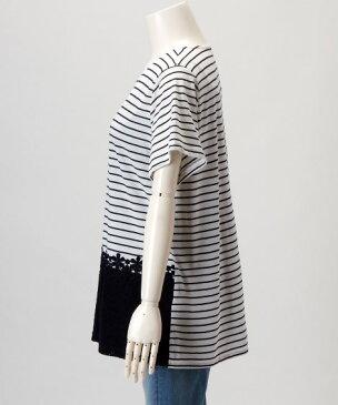 大きいサイズ レディース 前身頃裾レース切替チュニック 薄手素材 Tシャツ カットソー トップ OFF STYLE 4L/5L ニッセン