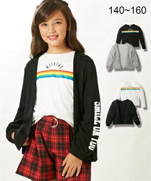 f692db534f3eb アウター キッズ 2点セット(袖口ロゴカーデガン+Tシャツ)(女の子 子供服
