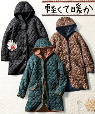 大きいサイズ レディース キルティングコート 冬 コート グリーン系チェック/ブラウン系花柄/黒 L〜10L ニッセン