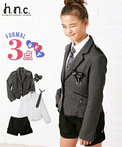 37dad35f45a39 スーツ フォーマル キッズ 卒業式 ヒロミチナカノ 3点セット ジャケット + ブラウス ショート パンツ 女の子