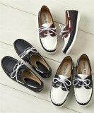 靴 レディース コンビ カラー デッキ シューズ ネイビー/ホワイト×アカ/ホワイト×ネイビー 20.0〜22.5/22.0〜22.5/23.0〜23.5/24/24.5cm ニッセン
