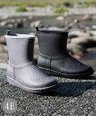 シューズ レイン 大きいサイズ レディース ステッチ風デザイン ショート ブーツ 防水仕様 ワイズ4E相当 靴 グレー/ブラック 22.5〜23.0/23.0〜23.5/24.0〜24.5/24.5〜25.0cm ニッセン