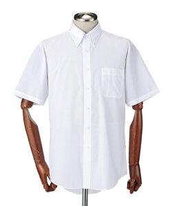 ワイシャツ ビジネス メンズ 首まわり接触冷感生地使用形態安定 半袖 2枚組 ボタンダウン 白+グレーストライプ/白+ブルーストライプ M/L/LL ニッセン