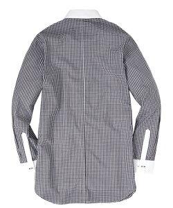 ワイシャツ 大きいサイズ ビジネス メンズ 日本製 綿100% クレリック デザイン 長袖 シャツ カッタウェイ カラー 黒ストライプ/紺チェック 3L/4L/5L ニッセン nissen