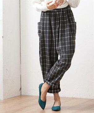 パンツ ワイド ガウチョ 大きいサイズ レディース 起毛 チェックバルーン グレー系チェック/黒系チェック LL/3L ニッセン