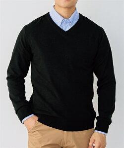 セーター ニット メンズ 洗濯機で洗える 薄手 Vネック 冬 インクブルー/黒/杢グレー M/L/LL ニッセン
