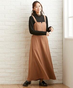 ジャンパー スカート 大きいサイズ レディース ワンピース キャメル/黒 LL〜10L ニッセン nissen