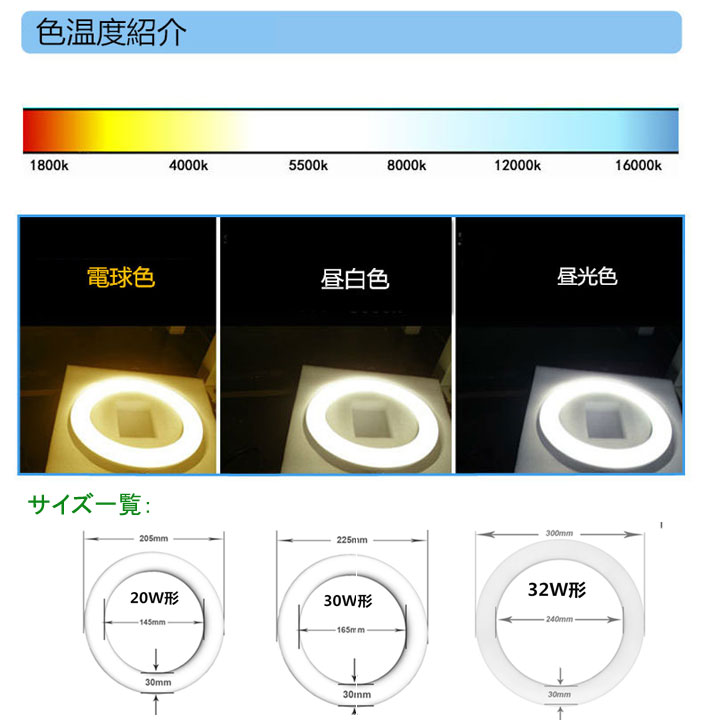led蛍光灯丸型30w形 昼光色 LEDランプ丸形30W型 LED蛍光灯円形型 FCL30W代替 高輝度 グロー式工事不要 2個セット
