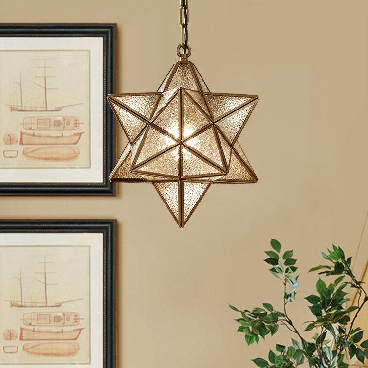 ペンダントライト星 北欧 ガラス真鍮 LED対応 ダクトレール用照明