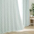 裏地付き遮光2級・遮熱カーテン(パターン ターコイズブルー 100X178X2) 【玄関先迄納品】