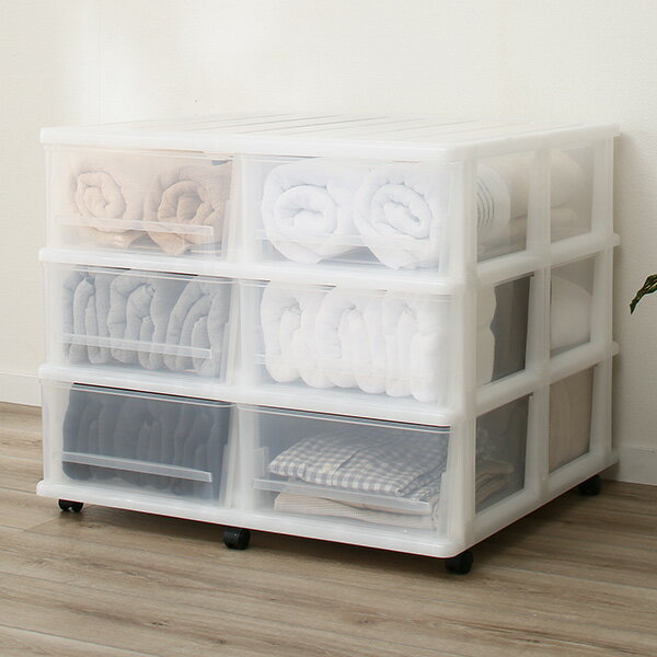 衣装ケース押入れ収納ケース引き出しプラスチック3段押入れ押入れ収納ケースFD(3段2列)シンプルホワイトキャスター付き収納ボック