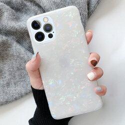 iPhone12Pro貝殻スマホケースホログラムケースiPhone12可愛いiPhone12miniパールiPhone12ProMaxストラップホール背面カバーシンプルTPUケース薄型軽量