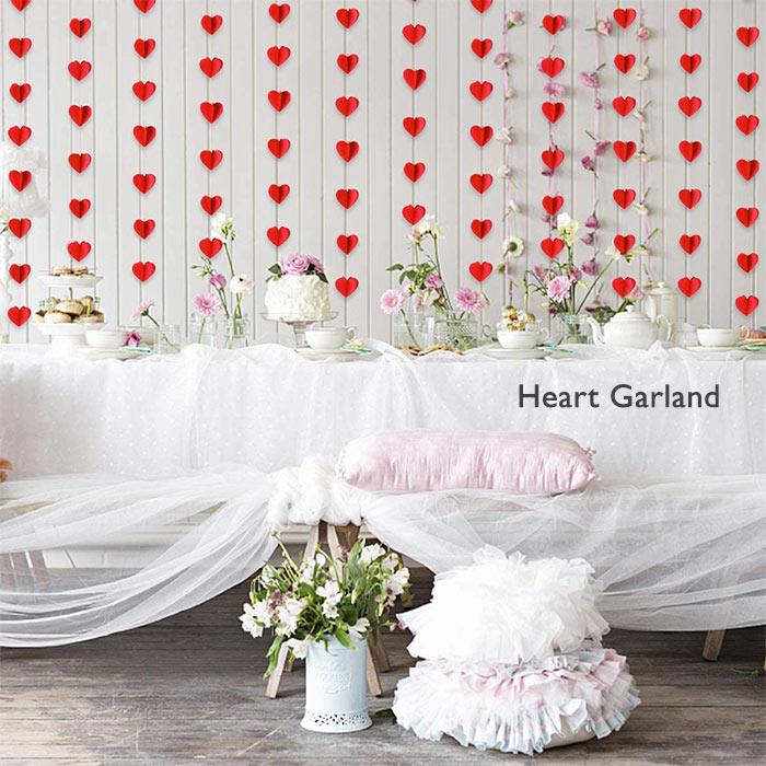 ハート型 ガーランド バレンタイン 結婚式 ウェディング インテリア 誕生日 飾り ペーパー プロポーズ イベント パーティーグッズ レッド 壁飾り 紙製