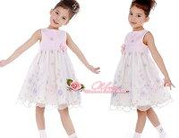 花刺繍大きなコサッジュ飾り子供ドレス