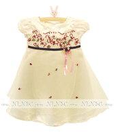 刺繍花、紗ワンピース