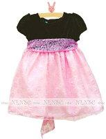 ピンクレースグリーンベルベットベビードレス