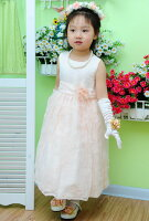 ネールピンク紗ロマンティック子供ドレス