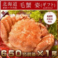 北海道オホーツク産毛蟹姿大サイズ1尾650g前後(シュリンク包装)×1尾