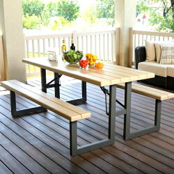LIFETIMEFramePicnicTable6-Footフレームピクニックテーブル折りたたみ防水テーブル大型一体型テーブルチェアパラソルホール【smtb-ms】0470410