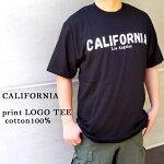 CALIFORNIAプリントロゴ黒半袖TEEシャツブラックロゴアメカジシンプルモードコットン100%メンズレディースユニセックス