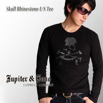 -Jupiter &Juno ジュピターアンドジュノ Skull Rhinestone Long Sleeve Tee (スカルラインス l/s T shirt)