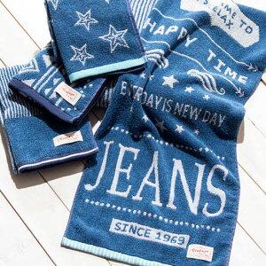 ハンドタオル タオルハンカチ ウォッシュタオル 綿100% デニムカラー ブルー ネイビー 青 タオル おしゃれ かわいい かっこいい ロゴ 星 スター ストライプ メンズ キッズ 綿100%おしゃれなジーンズ風タオル ベルーナ