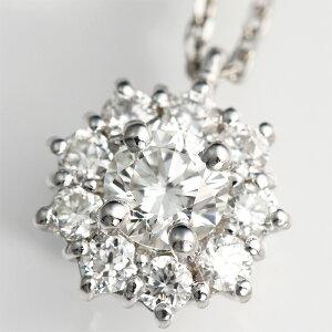【輝き保証!】Ptダイヤモンド【スイートテン】一粒ダイヤ取り巻きネックレス[0.167ct]《…