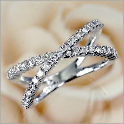 K18WGダイヤクロスアームリング[0.5ct]【ダイヤモンド】【プレゼント ギフト】:愛する気持ち*ノダジュエリー