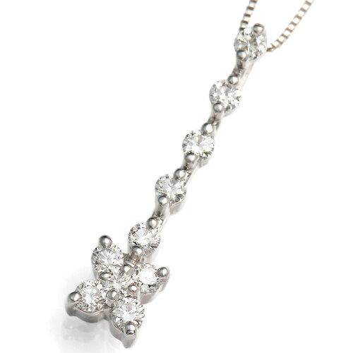 《石田ゆり子さん使用》 K18WGダイヤモンドフラワーネックレス[0.3...