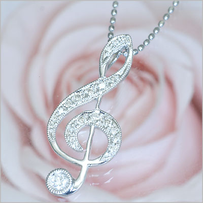 K18WGダイヤ ト音記号ネックレス【ダイヤモンド】【プレゼント ギフト】:愛する気持ち*ノダジュエリー
