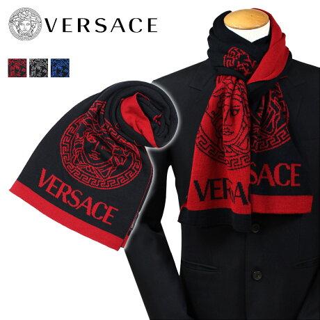 VERSACE マフラー ヴェルサーチ ベルサーチ メンズ ニット ウール ロング丈 イタリア製 ビジネス カジュアル