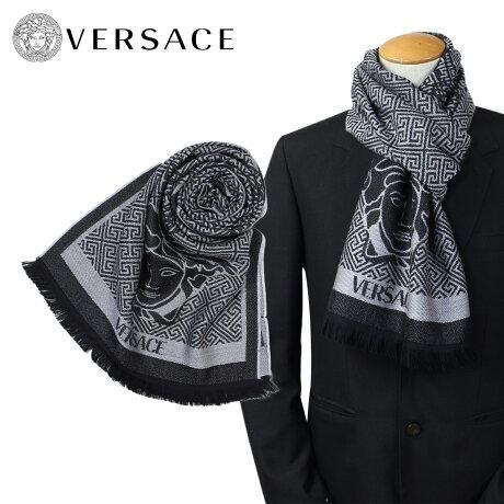 VERSACE マフラー ヴェルサーチ ベルサーチ メンズ ウール イタリア製 カジュアル ビジネス 0627 [1712]