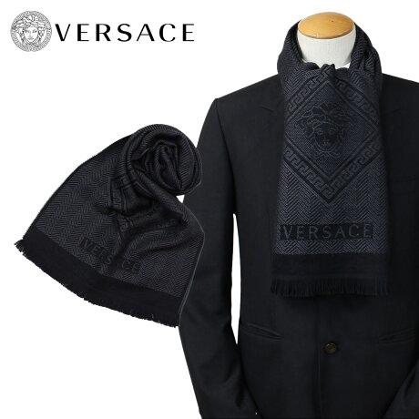 VERSACE マフラー ヴェルサーチ ベルサーチ メンズ ウール イタリア製 カジュアル ビジネス 0641 [1712]