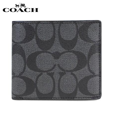 COACH WALLET コーチ 財布 二つ折り メンズ レザー ウォレット F75083 チャコールグレー [予約商品 1/25頃入荷予定 再入荷] [191]