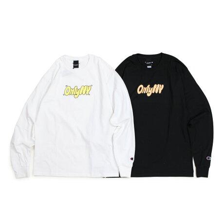 ONLY NY オンリーニューヨーク Tシャツ ロンT メンズ 長袖 コットン BUBBLE LETTER CHAMPION L/S T-SHIRT ブラック ホワイト [1/7 新入荷]
