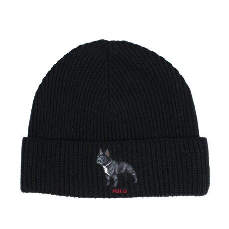 ポロ ラルフローレン POLO RALPH LAUREN ニット帽 ニットキャップ ビーニー メンズ レディース BULLDOG KNIT HAT ブラック PC0197 [1/15 新入荷]