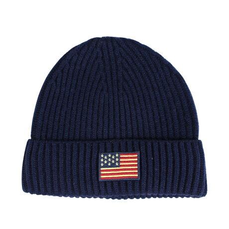 ポロ ラルフローレン POLO RALPH LAUREN ニット帽 ニットキャップ ビーニー メンズ レディース ウール FLAG KNIT HAT ネイビー PC0239 [1/15 新入荷]