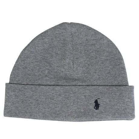ポロ ラルフローレン POLO RALPH LAUREN ニット帽 ニットキャップ ビーニー メンズ レディース コットン WAFFLE KNIT COTTON HAT グレー 6F0468 [1/16 新入荷]