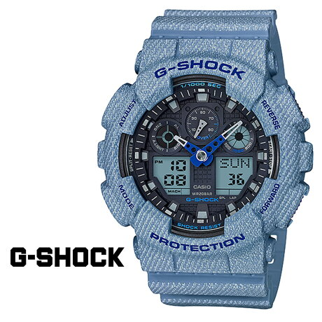 CASIO G-SHOCK カシオ 腕時計 GA-100DE-2AJF ジーショック Gショック G-ショック デニム ライトブルー メンズ レディース [6/23 再入荷][186]