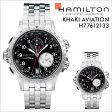 HAMILTON ハミルトン 腕時計 カーキ アビエーション メンズ 時計 42mm レザー KHAKI AVIATION ETO QUARTZ H77612133 ブラック 防水 [ あす楽対象外 ]