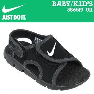 Nike 耐克嬰兒孩子新蕾調整 4 TD 涼鞋新蕾調整 4 小孩初中孩子嬰兒學步車 386519-011 黑