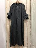 CLOTH&CROSS(クロスアンドクロス)リネンストライプベルト付きワンピースグレー×ブラック