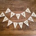 ガーランドHAPPYBIRTHDAY誕生日ハッピーバースデー木製ベビーフォト飾り付けフォトアイテム手作りキット木パーティー装飾バースデーフォトかわいいナチュラル