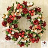 【送料無料】「白樺のリース」 直径30cm以上 クリスマスリース 屋外 フック付き ドライフラワー リース 玄関 窓 ギフト プレゼント クリスマス ドア 壁飾り おしゃれ インテリア 店舗 ディスプレイ ウェルカムリース ショップ クリスマス飾り