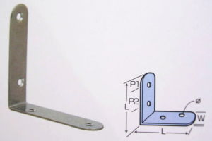 ステンレス内金折れ45ミリ×45ミリ×厚さ1ミリ×幅15ミリ