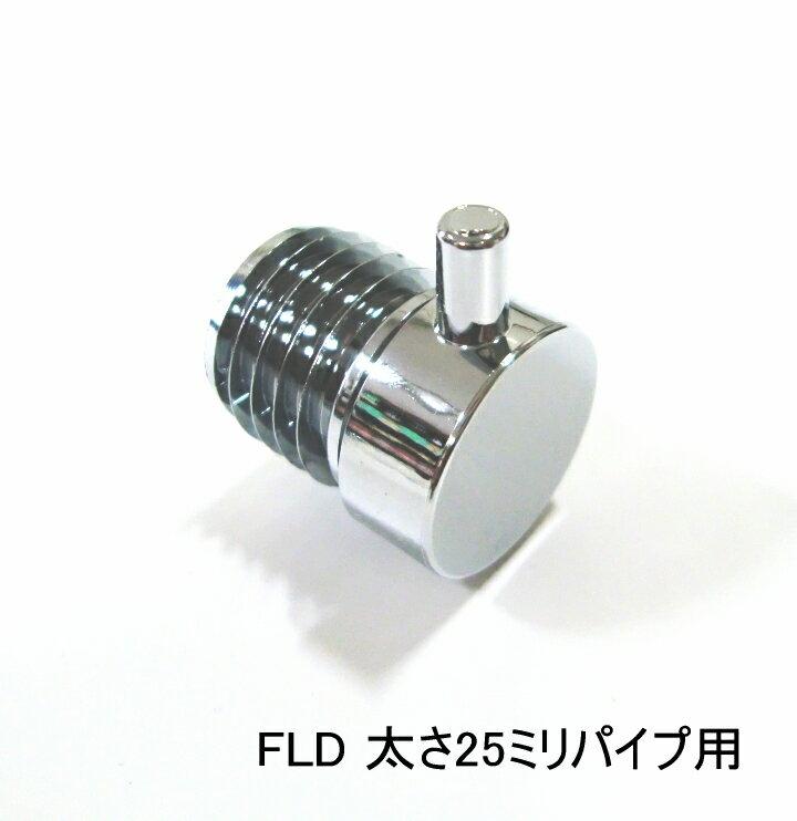 ロイヤル 25ミリ丸パイプに使用するエンドキャップ(単品) フラットロコキャップデコ クローム 40個まで1通のメール便可