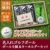 ゴルフボール名入れ9個&キーホルダーセット