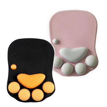 ネコ 肉球 マウスパッド 滑り止め 光学式対応 ブラック/ピンク